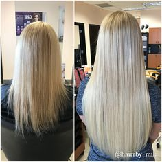 Blond Extensions - Beauty Locks Extension services - before and after. Beautiful long hair. Located in Miami Beach - we provide tape in extensions, micro-bead, keratin fusion, re-usable extensions. We also do color, blow outs and cuts.