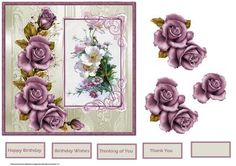 Purple rose and white flowers card on Craftsuprint designed by Angela Wake - Purple rose and white flowers card with decoupage and sentiment tags - Now available for download!