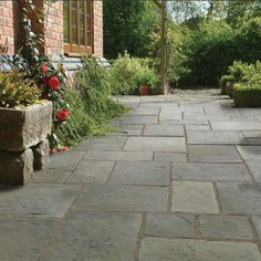 Pavestone Tanners Mill Grey Green antique style concrete patio or garden paving slabs. Concrete Paving Slabs, Paving Stone Patio, Outdoor Paving, Sandstone Paving, Patio Slabs, Paving Stones, Concrete Patio, Grey Paving, Concrete Flags