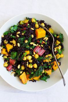 Black Rice Salad with Curried Chickpeas, Squash and Swiss Chard
