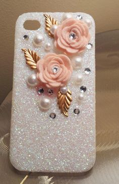 Pearl Flower Glitter iPhone 4 4s Hard Cover CAUUTE!(: