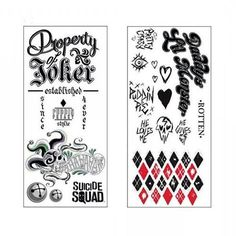 DC Comics Suicide Squad Harley Quinn and Joker temporary tattoos set, cosplay suit up.