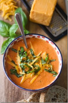 Tomato, Basil, and Cheddar Soup, with Greek Yogurt. Great with Sandwich or Salad.