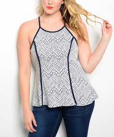 This Navy & Ivory Chevron Racerback Tank - Plus is perfect! #zulilyfinds