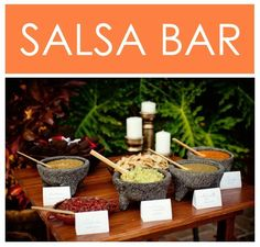 Love the idea of a salsa bar for a Mexican fiesta party. Check out this site for some great salsa recipes too. bdaypartybabble