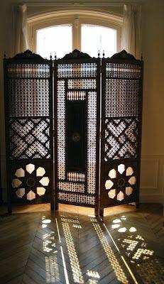 Image detail for -. study, the sunlight peeking through the Egyptian mashrabiya screen Moroccan Design, Moroccan Decor, Moroccan Style, Islamic Architecture, Interior Architecture, Interior And Exterior, Decorating Your Home, Interior Decorating, Room Divider Screen