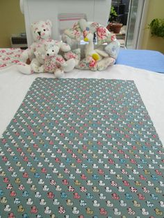 BN Haberdashery Cotton Remnant In Duck Egg Quacky Ducks For Crafts Etc