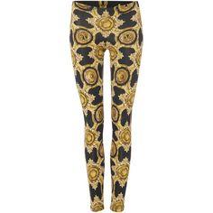 Versace Jeans print jeggings ($255) ❤ liked on Polyvore featuring pants, leggings, black, women, patterned pants, print leggings, versace, black leggings and black denim leggings