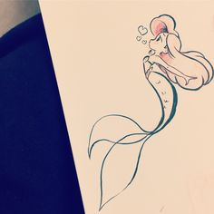 Best Disney Tattoo - The Little Mermaid. drawings mermaid Disney Tattoo – The Little Mermaid… Disney Kunst, Disney Art, Kawaii Disney, Disney Ideas, Disney Pixar, Disney Tattoos, Cute Drawings, Drawing Sketches, Drawing Ideas