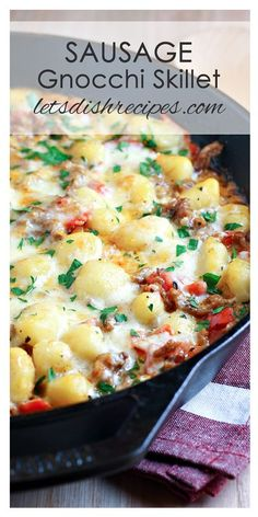 Cheesy Sausage Gnocchi Skillet Recipe | This delicious one-pot pasta dish is ready in less than 30 minutes!