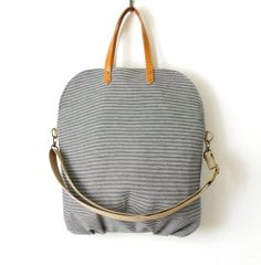 Navy stripe denim fold over flap tote / cross body bag by BagyBags, $78.70