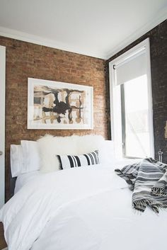 Brick-wall bedroom: http://www.stylemepretty.com/living/2015/07/24/lo-bosworths-downtown-dream-home/ | Photography: Homepolish - https://www.homepolish.com/