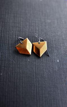 Brass Earrings no1  Geometric   by Mad Tea Garden by madteagarden, $23.00