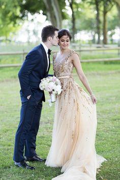 Gorgeous + glamorous sparkly gold wedding dress: http://www.stylemepretty.com/little-black-book-blog/2016/01/04/french-chateau-wedding-sparkly-gold-dress/ | Photography: Lauren Michelle - http://laurenmichelle.com.au/