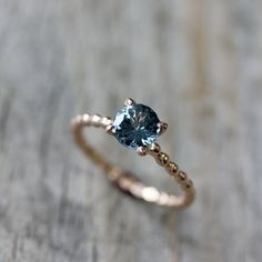 Blue Spinel and 14 Karat Rose Gold Ring by onegarnetgirl