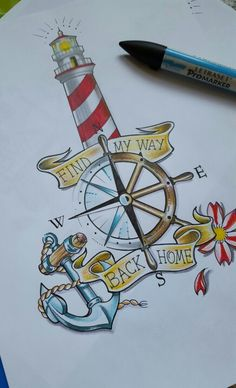 Old school tattoo lighthouse anchor sailor, replace the flower with a NS flag