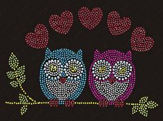Adorable Owl Couple Rhinestone Transfer -  Rhinestone Mr and Mrs Owl Transfer