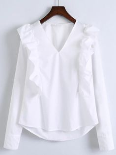 Shop White V Neck Ruffle Trim Buttoned Cuff Blouse online. SheIn offers White V Neck Ruffle Trim Buttoned Cuff Blouse & more to fit your fashionable needs. Hijab Fashion, Fashion Outfits, Hijab Stile, Modelos Plus Size, Frill Tops, Blouse And Skirt, Ruffle Blouse, White V Necks, Blouse Online
