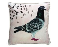Cushion cover for throw pillow with bird - Racing Pigeon - // Large Pillow Cases, Large Pillows, Decorative Pillows, Throw Pillows, Racing Pigeons, Nature Illustration, Blog, Pets, Luxury