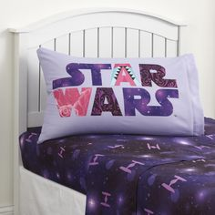 Of course Stars Wars isn't just for boys, as proven by these girl's <strong>Star Wars Hyperspace bedsheets by Lucasfilm</strong>. This soft microfiber set includes a fitted sheet, flat sheet and one standard pillowcase. With a cool galactic background in vibrant colors, these sheets boast a TIE Fighter design. The