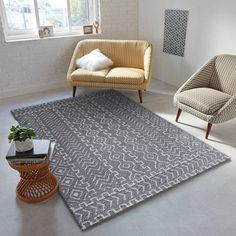 Union Rustic Ena Diamond and Square Handmade Grey/White Area Rug Grey Rugs, Beige Area Rugs, Outdoor Area Rugs, Modern Room, White Area Rug, Cool Patterns, Throw Rugs, Grey And White, Black