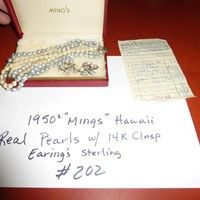 """Lot # 202 - Vintage 1950's """"MINGS"""" Hawaii Triple Strand Authentic Pearls 14k Clasp w/ Sterling & Pearl Earings in Original Box - See more at: http://www.norcalonlineauctions.com/auctions/northern-ca-estate-liquidation-sale--redding-chico~325/lot--202---vintage-1950s-mings-hawaii-triple-strand-authentic-pearls-14k-clasp-w-sterling-earings~19034/#sthash.tXq1I9DW.dpuf"""