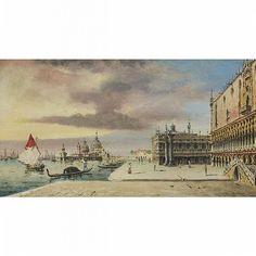 "**Grubas (19th Century), ""VENICE"" (A VIEW OF THE GRAND CANAL WITH BASILICA SANTA MARIA DELLA SALUTE), Oil on panel; signed ""Grubas"" lower right, 6.25' x 10.5' — 15.9 x 26.7 cm."