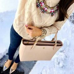 Jeans, nude sweater, nude bag and statement necklace...