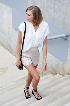 """[caption align=""""alignleft"""" Lace-Up Flats by Billy Ella[/caption] Simple Outfits, Summer Outfits, Cute Outfits, Office Fashion, Daily Fashion, Nude Shorts, Flats Outfit, Lace Up Flats, Swimwear Fashion"""