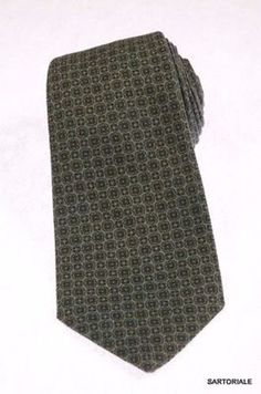 KITON Napoli Hand-Made Seven Fold Green Wool-Silk Floral Tie NEW