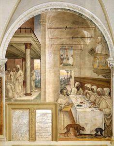 Il Sodoma (Giovanni Antonio Bazzi) - La vita di San Benedetto, Scene 31 - Benedetto ottiene farina e sfama i monaci - affresco - 1505-1508 - Chiostro Grande dell'Abbazia di Monte Oliveto Maggiore (Asciano, Siena).