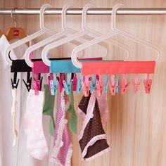 Portable Floding Cloth Clothes Hanger Travel Bathroom Hanger Rack For Socks Towel Clips Clothes Pegs Folding Clothes Rack, Clothes Hanger Hooks, Clothes Clips, Hanger Clips, Hanger Rack, Hanging Clothes, Towel Hanger, Hanging Towels, Coat Hanger