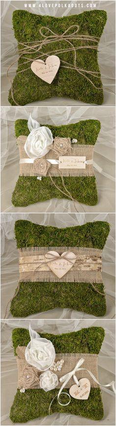 Moss Rustic Wedding Ring Bearer Pillows #weddingpillow #cushion #moss #unique #rustic #woodland #wood #weddingideas #weddingrings