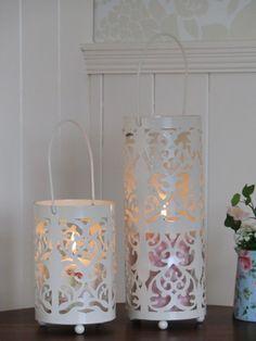 set of 2 cream lanterns