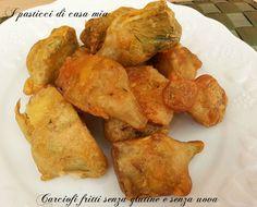Carciofi fritti senza glutine e senza uova ma anche senza lattosio, gustosi e croccanti, la farina di riso permette di realizzare fritti croccanti e asciutti.