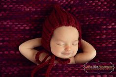 newborn ribbed pixie hat cranberry photography prop baby boy baby girl