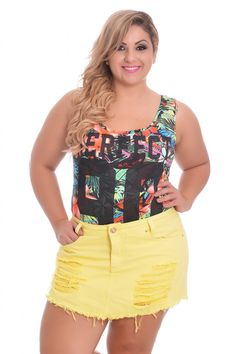 Shorts Saia Destroyed Yellow - VK Moda Plus Size