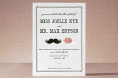 Stache + Kiss Letterpress Wedding Invitations by Penelope Poppy at minted.com