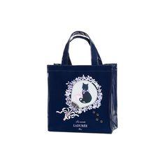 Shopping bag portrait chat dark blue small