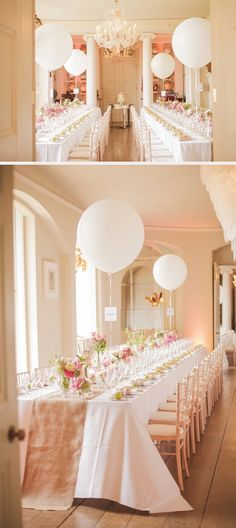A simple centerpiece with table number attached to the string of the balloon is perfect for wedding and other occasions that require a seating arrangement.