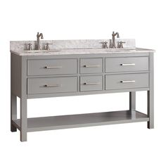 This 60in vanity accommodates two sinks and comes with various options of granite tops to choose from. You can match this vanity with any complementary top, mirror and medicine cabinet to complete the design of your dreams! Model: BROOKS-V60-CG