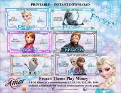 "Play Money - Frozen inspired Great for party favor bags, Monopoly money, teaching child the value of money ❤ Frozen themed play money with 6 values ($1 - Elsa, $5 - Anna, $10 - Olaf, $20 - Sven, $50 - Kristoff and $100 - Elsa & Anna) ❤ PDF file with all (6) money values on one page ❤ Play Money Size: 2"" x 4"" inches"