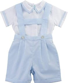 2 Piece Suspender Short Set Layette Vintage Baby Boys