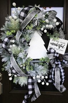 Christmas Wreath Christmas Pine Wreath Flocked Pine Christmas Wreath Sparkly Christmas Wreath Holiday Door Wreath One of a Kind Wreath Black and White Plaid Christmas Decor Home Decor Handmade Wreaths Wreaths Plaid Christmas, Rustic Christmas, Christmas Home, Christmas Holidays, Christmas Crafts, Christmas Quotes, Christmas Carol, Christmas 2019, Christmas Island