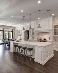 Open Concept Kitchen with island Fresh Open Kitchen with island White Open Concept Kitchen Open Concept Living Room Kitchen, Home Decor Kitchen, Rustic Kitchen, Kitchen Interior, Kitchen Ideas, Kitchen White, White Kitchens, Vintage Kitchen, Open Kitchens
