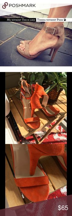 Calvin Klein Orange Vivian🍊 Beautiful, comfortable and stylish .  Small mark on one of the heels shown in picture. Calvin Klein Shoes Heels