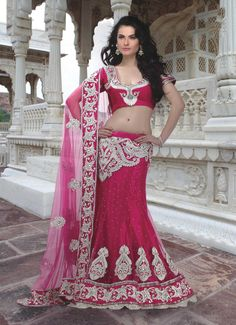$206.99 Pink Net Lehenga Saree 19639 With Unstitched Blouse