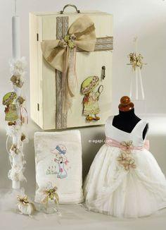 Sara Kay greek baptism SET Candle  3 pc Couture Baby by eAGAPIcom