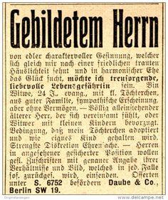 Original-Werbung/ Anzeige 1910 - WITWE, 24 SUCHT GEBILDETEN HERRN - EHEGESUCH - ca. 45 x 50 mm