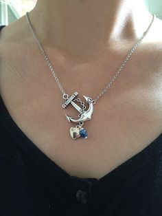 Anchor Necklace Nautical Necklace With Silver Heart by pier7craft, $10.50